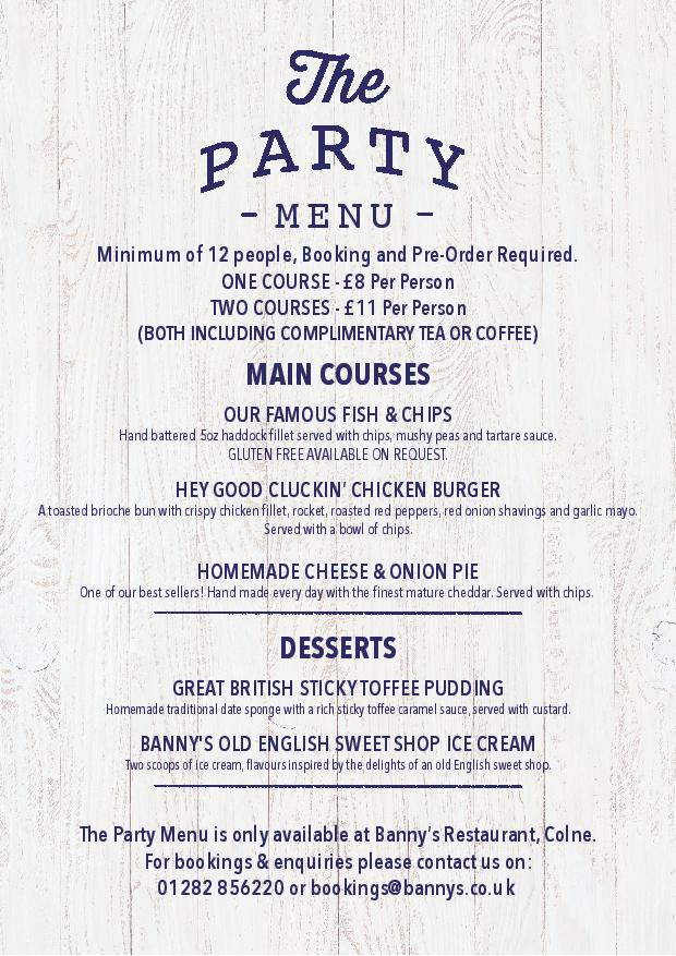 Colne Party Menu